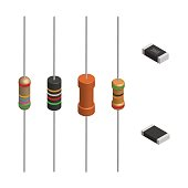 Set of resistors of different shapes isolated on white background. Elements design of electronic components. 3D isometric style, vector illustration.