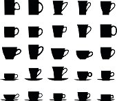 Vector collection silhouette illustration of tea cups on a white background.