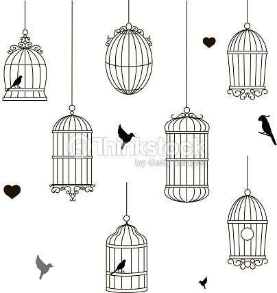 set of different style bird cage vector art thinkstock