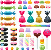 Set of sweets on white background - marshmallow, licorice, hard candy, dragee, cake pop, toffee, jelly, peppermint candy, chocolate vector illustration
