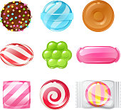 Set of sweets on white background hard candy, dragee, lollipop, toffee, jelly, peppermint candy, chocolate vector illustration