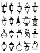 Vector detailed illustration of black silhouettes of plafonds of street lamps isolated in a flat style on white background. Set of street lamps