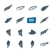 Set of different wings icon set. icontype, design elements, icons wing flying, emblems feather wing bird and angel. Vector illustration editable stroke.