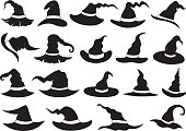 Set of different witch hats isolated
