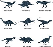 Set of dinosaurs vector icons, silhouettes, signs, emblems. Vector illustration.