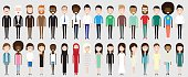 Set of diverse business people isolated on white background. Different nationalities and dress styles. Cute and simple flat cartoon style