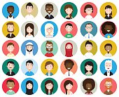 Set of diverse round avatars isolated on white background. Different nationalities, clothes and hair styles. Cute and simple flat cartoon style