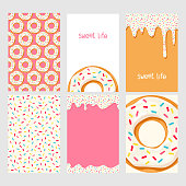 Set of bright food cards. Set of donuts with pink glaze. Donut seamless pattern.Donut background. Donut card.Donut poster. Donut's glaze pattern. Donut's glaze background Template for design