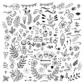 Set of doodles of florals, fruits, arrows, flowers, birds, things for home, eat. Vector illustration