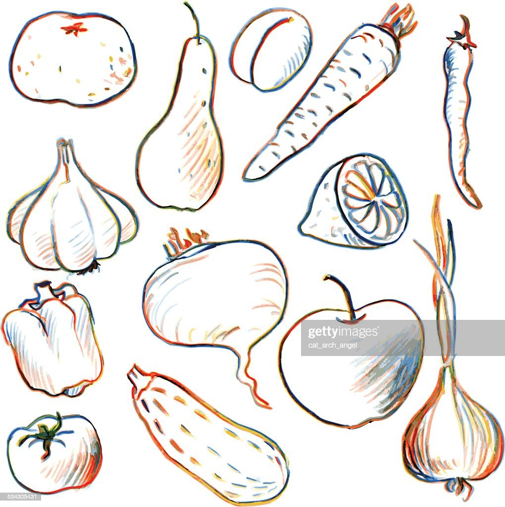 set of drawing vegetables and fruits vector art getty images