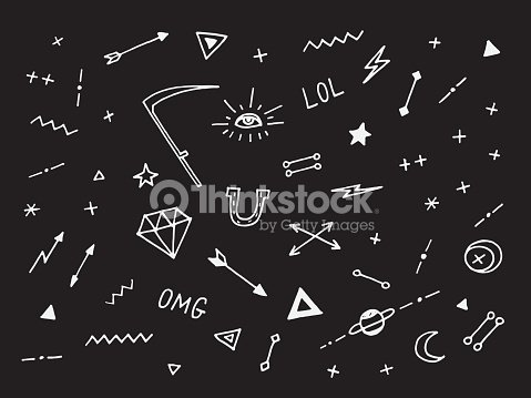 97f4842fe4f9b Set Of Drawn Old School Tattoo Elements Black And White stock vector ...
