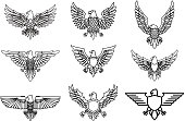 Set of eagle icons isolated on white. Design element for label, emblem, sign. Vector illustration