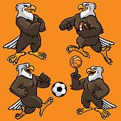 Vector set of eagle sport mascot