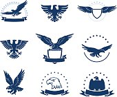 Set of black and white eagles emblems with shields and stars