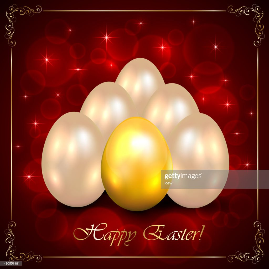 Juego de huevos de Pascua sobre fondo rojo : Arte vectorial