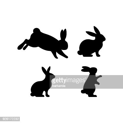 A set of Easter rabbits silhouette in different shapes and actions : stock vector