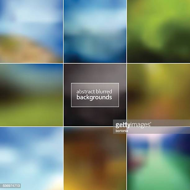 Set of Eight Trendy Blurred Defocused Backgrounds