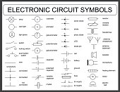 Collection of vector blueprint electronic circuit symbols - led, resistor, switch, capacitor, transformer, wire, speaker, lamp, zener, fuse, potentiometer,battery, ammeter, diode, voltmeter, galvanome