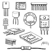 Set of electronic components: transistor, inductor, microchip, sensor, wi-fi module, cpu, resistor, microprocessor isolated on white background. Vector illustration in a sketch style.