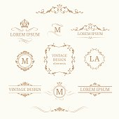 Elegant floral monograms and borders. Design templates for invitations, menus, labels. Wedding monograms. Calligraphic elegant ornament. Monogram identity for restaurant, hotel, heraldic, jewelry.
