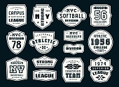 Set of emblems and patches in sport style. Softball, basketball and rugby themes. Graphic design for t-shirt. Print on black background