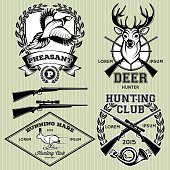 set of vector emblems with a deer, hare, pheasant for hunting