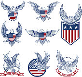 Set of emblems with eagles and american flags. Design elements for label, emblem, sign. Vector illustration