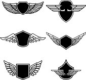 Set of emblems with wings isolated on white background. Design elements for label, emblem, sign, badge. Vector illustration