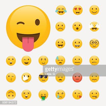 Groupe de Émoticônes. Emoji conception plat, un avatar. Vecteur illus : Clipart vectoriel
