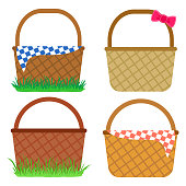 Set of empty baskets for Easter eggs. Vector illustration