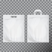 Set of empty white blank plastic bag mock up isolated. Consumer pack ready for logo design or identity presentation. Commercial product food packet handle for your design