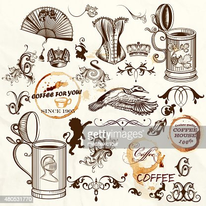 Set of engraved vintage objects a lot of things : Vector Art