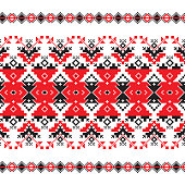 Set of Ethnic ornament pattern in in red and black colors. Vector illustration. From collection of Balto-Slavic ornaments