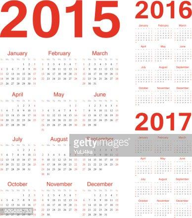 Grupo Europeo de 2015, año 2016, 2017 vector Calendarios : Arte vectorial