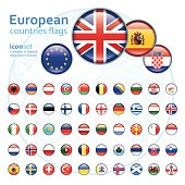 set of european flags, vector illustration