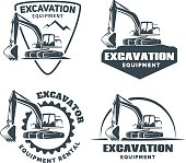 Set of excavator emblems and badges isolated on white background. Constructing equipment design elements.