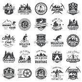 Summer camp,mountain biking, alpine club. Vector illustration. Set of vintage badges, labels, icons, silhouettes. Vintage typography collection with 25 items. Outdoors adventure emblems.