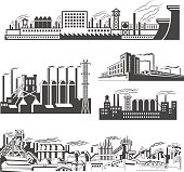 Some industrial Factories silhouette patterns.