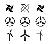 Set of fan and Wind energy icons, vector design