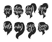 Set of female elegant silhouettes with different hairstyles and calligraphy. Calligraphic compliments. Female profile with compliments for the design of printed materials and web design