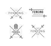 Set of Fencing sports vector logo or badge. Emblem elements. Fencing equipment - rapier, foil, mask. Sport academy.