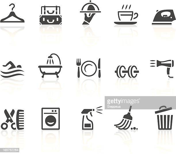 Set of fifteen gray hotel icons