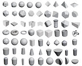 Vector set of different geometric shapes in 3D.