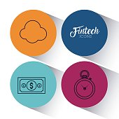 set of Fintech Financial Internet Technology icons vector illustration graphic design