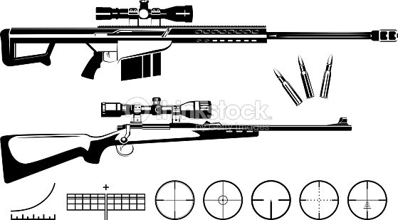 Set Of Firearms Sniper Rifles And Targets stock vector
