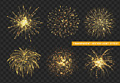 Set of Firework gold isolated. Xmas decoration. Holiday design element. Bright realistic golden firework with transparent background effect.