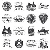 Set of fishing and camping club badge. Vector illustration. Concept for shirt, print, stamp or tee. Vintage typography design with mountain camp and fisher silhouette. Extreme adventure. Summer camp.