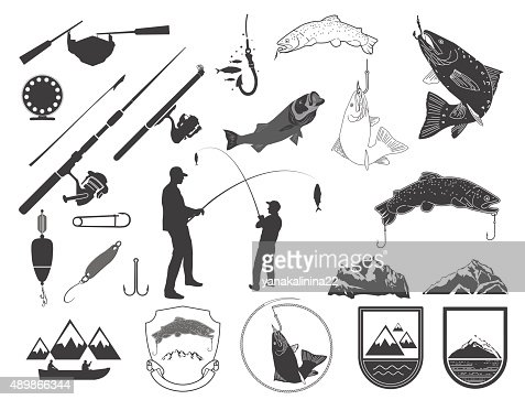 Set Of Fishing Icons And Icons Vector Art Thinkstock