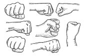 Set of fists in vintage style isolated on white background. In the style of antique engraving, Vector illustration.