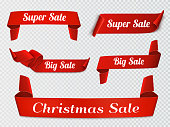 Set of five red, realistic, sale paper banners on transparent background. Vector illustration.